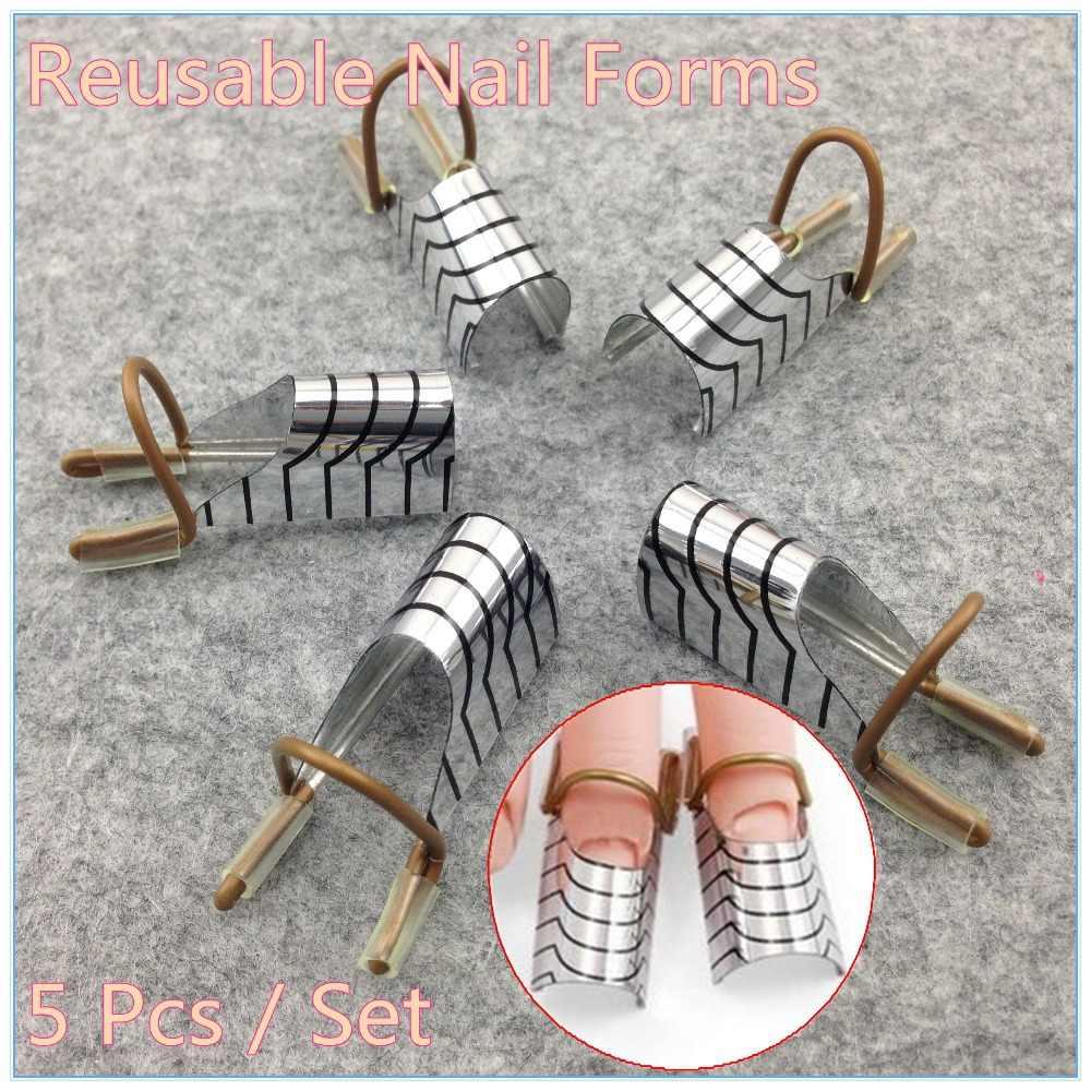1 set (5 adet) kullanımlık çift gümüş tırnak formu Nail Art yapma C eğrisi akrilik fransız İpuçları + ücretsiz kargo (NR-WS34)