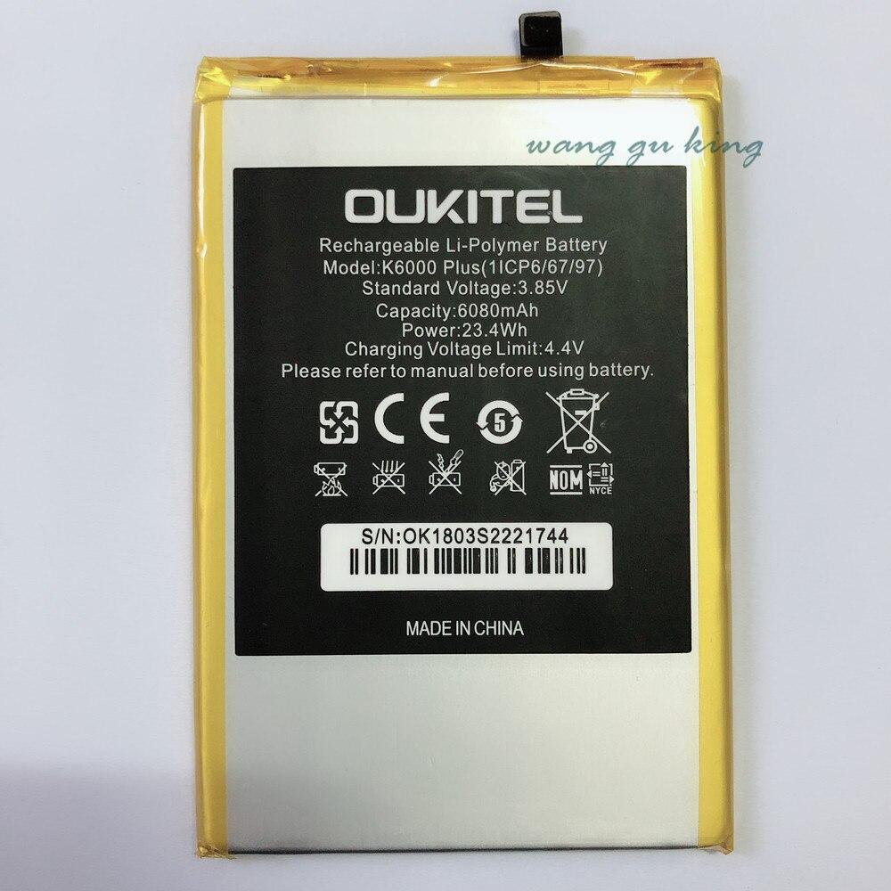 100% nouvelle Batterie De Remplacement Pour OUKITEL K6000 plus K6000plus Mobile téléphone Rechargeable Li-polymère Batteries 6080 mAh En stock