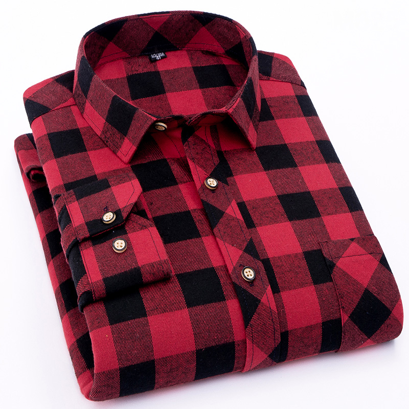 Spring checked design turndown collar shirts Men's Polo Shirts