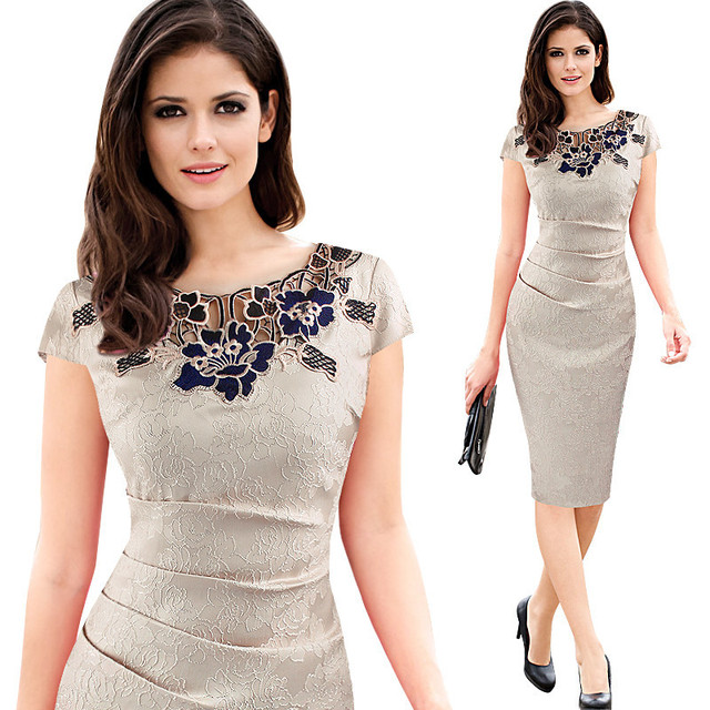 Euro-US style, 2019 new spring summer Women's clothing,Pencil dress,Lace ,Sexy,Round neck, 3