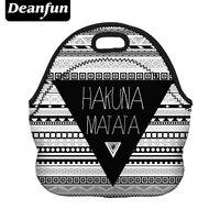 Deanfun 3D Printed Lunch Bag For Women 2017 New Fashion Neoprene Stripe Parttern With Zipper Picnic