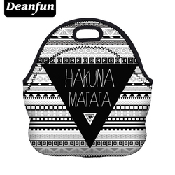 Deanfun 3D Impresso Neoprene Saco do Almoço para As Mulheres Nova Moda Listra Padrão com Zíper Piquenique Lanche 50816