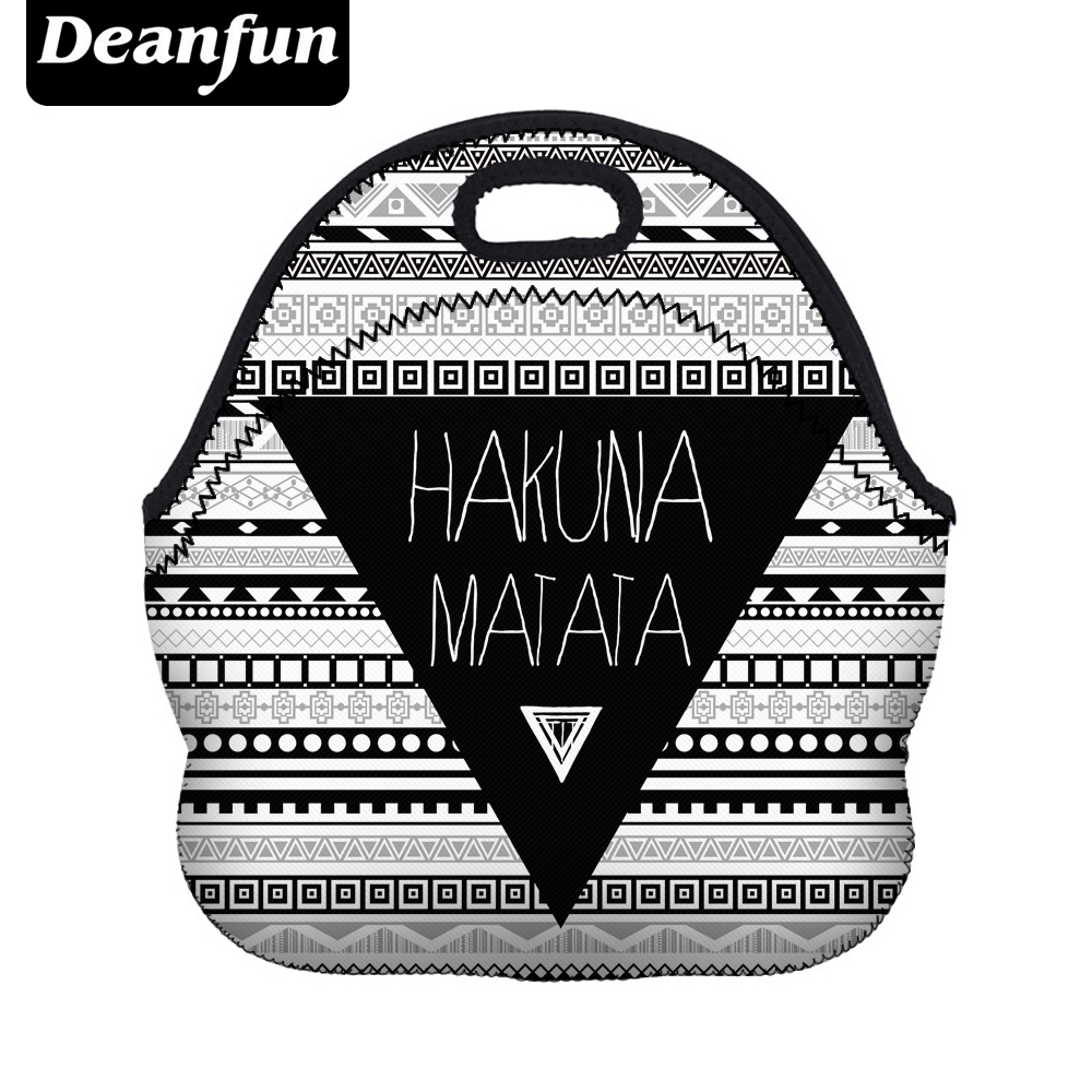 Deanfun 3D Printed Lunch Bag for Women 2017 New Fashion Neoprene Stripe Pattern with Zipper Picnic