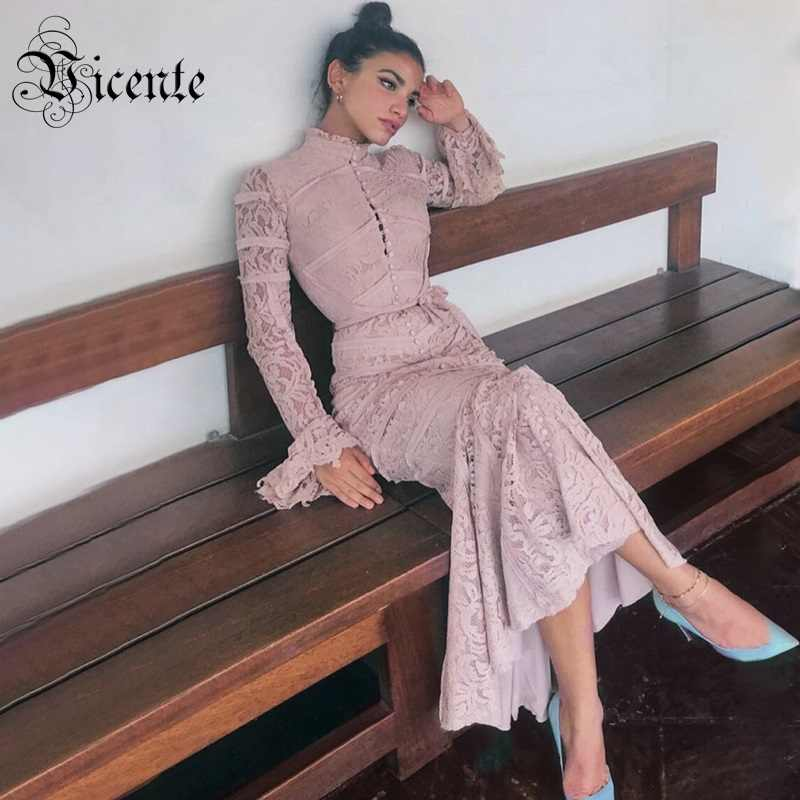 c013ca7727047 Vicente 2019 New Graceful Lace Dress Long Flared Sleeves Ruffles Design  Celebrity Party Club Bandage Maxi Long Dress