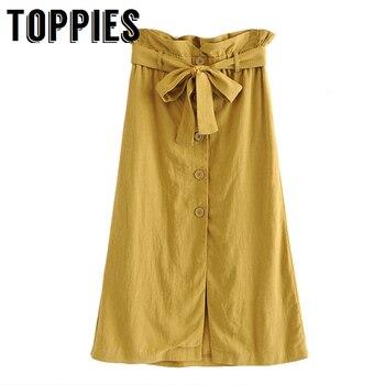 item image - 2019 Women Single Breasted Yellow Long Skirt Belt High Waist A-Line Skirt Korean Sweet Ruffles Bottoms Solid Color