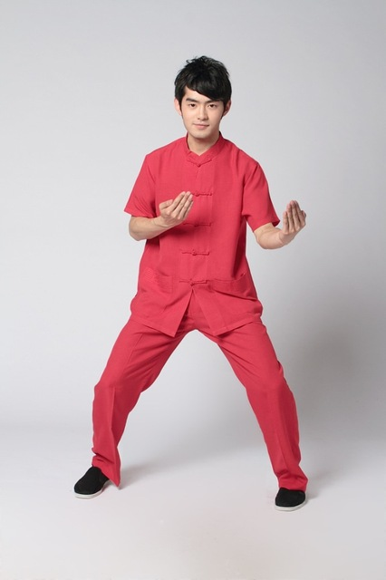 Red Chinese Men's Linen Shirt Trousers Kung Fu Suit S M L XL XXL XXXL Free Shipping 2350-6