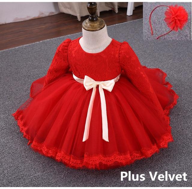 Top Quality Winter Red Tulle Baby Girls Dress 1 Year Old Birthday Dresses Plus Velvet InfantS Baptism Christening Wedding