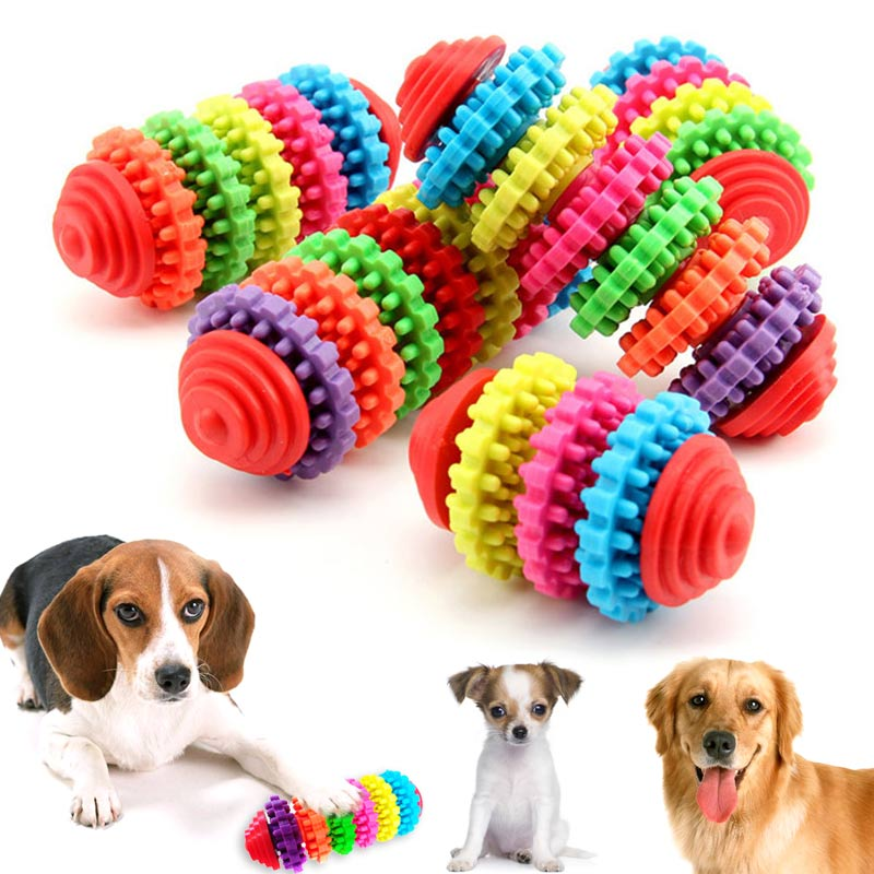Pet Chew Toy Dog Toys Puppy Dental Teeth Gums Bite-resistant Cachorro Colorful Natural Rubber Tooth Cleaning Tools For Small Dog