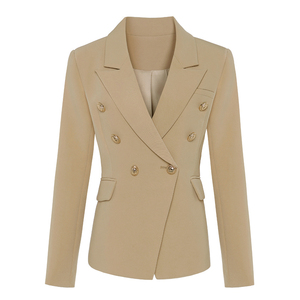 Image 2 - Newest 2020 Designer Blazer Jacket Womens Lion Metal Buttons Double Breasted Blazer Star Style Outer Wear Khaki