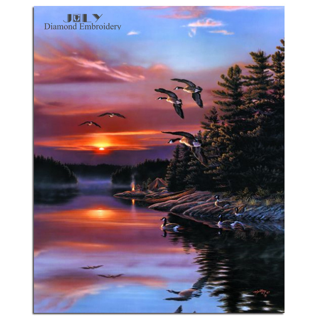 Birds Flying In The Sky Scenery For Needlework Countryside Sunset Quietly Painting Mosaic Diamond Embroidery Beautiful