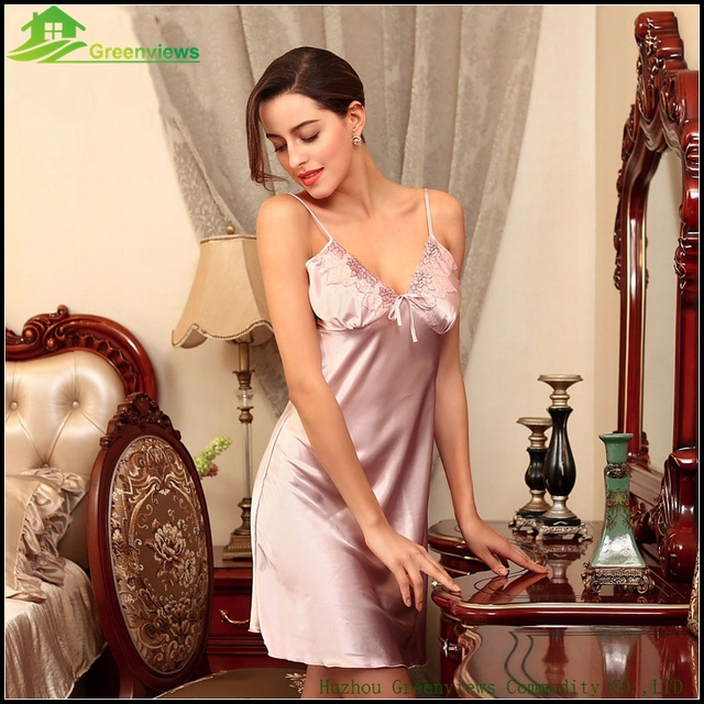 Leak Back Lingerie Women Night Dress With Bow Imitated Silk Fabric Sexy  nightwear Summer Slik Dress M L 87bde0728