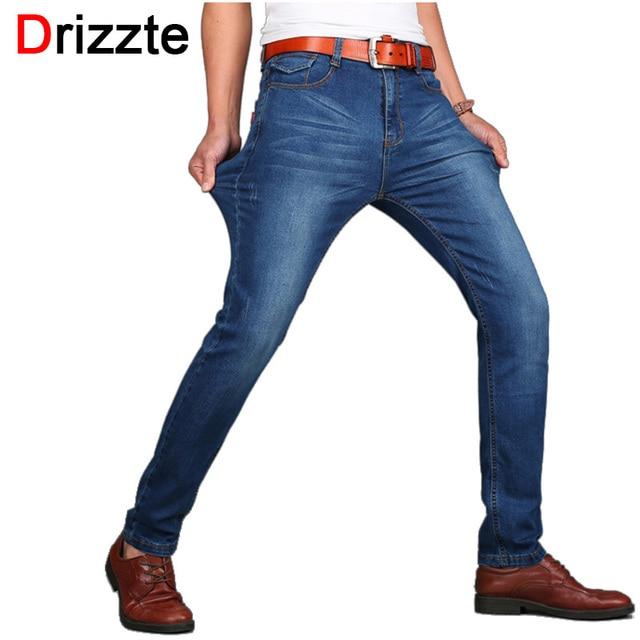 Drizzte hombres jeans delgado stretch jeans pantalones primavera pantalones para hombre azul cat bigote vaqueros de los hombres de la marca tamaño 28-40 42 44 46 48