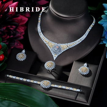 HIBRIDE Classic Zirconia Two Tones Wedding Jewelry Sets Flower Shaped 4 pcs Jewelry for Women Anniversary Party Show N-122