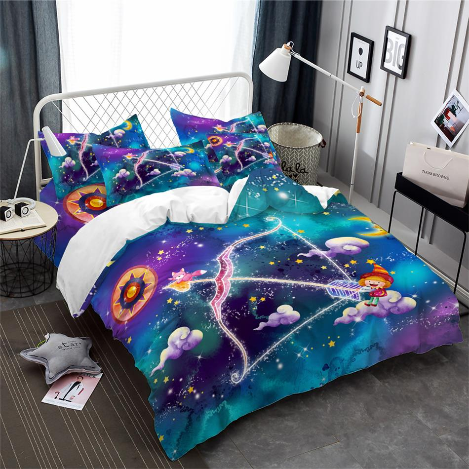 3Pcs Princess Sagittarius Constellation Bedding Set Dreamlike Cartoon Duvet Cover Galaxy Kids Bedclothes Pillowcase