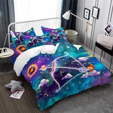 3Pcs Princess Sagittarius Constellation Bedding Set Dreamlike Cartoon Duvet Cover Set Galaxy Bedding Kids Bedclothes Pillowcase недорого