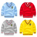 Toddler Boy Preppy Style Cotton Sweater Kids Boys Pullover Sweater V Neck Long Sleeve Tops Children Boys Yellow Red Grey Sweater