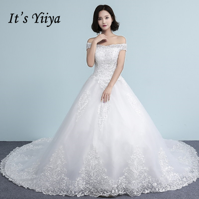 It S Yiiya Off White Sleeveless Boat Neck Hot Bride Dresses Embroidery Simple Pattern Quality Court Train
