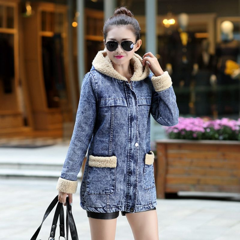 Vintage hooded cotton denim jacket women winter velvet thick warm jeans coats female Washed Casual denim parka plus size X6285 sulee brand 2017 new fashion business men jeans cotton denim jeans casual straight washed pants stretch jeans plus size 28 40