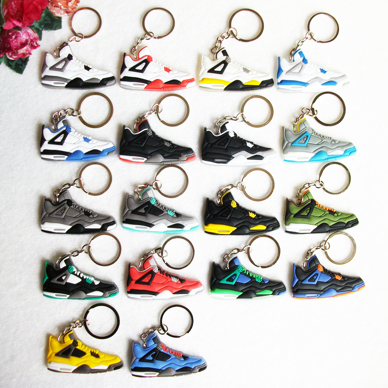 Mini Silicone Sneaker Jordan 4 Keychain Key Chain Shoes Car Key Holder Woman Men Bag Charm Accessories Key Rings Pendant Gifts