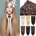 7 Штук 16 Клипов/Set Прямая 22 inch 55 см Наращивание Волос 100% Реального Природный Длинный Клип в Волосах расширения Черный Блондинки Карие 666