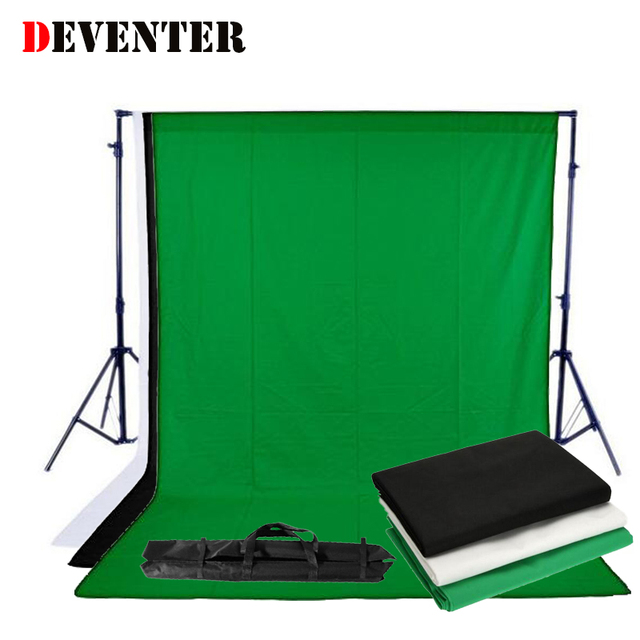 2x3M Photo Studio Background Stand Photography Video Photo Backdrop Support System kit and  3PCS 1.6x3M Non Woven Fabric