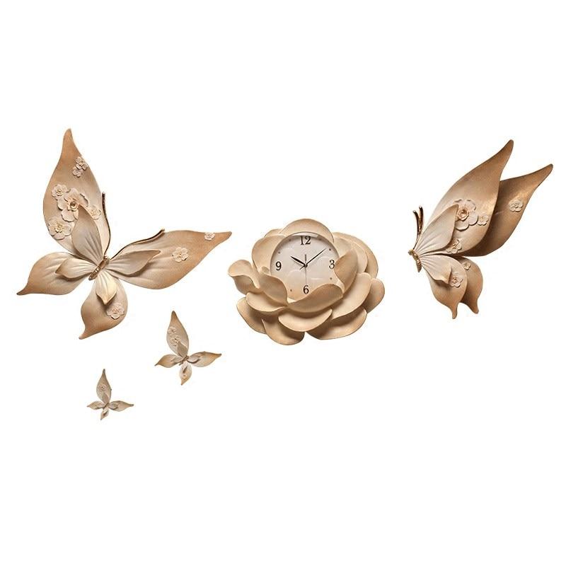 Relojes de pared estéreo 3D de personalidad de lujo flor para colgar en pared decoración de mariposas artesanías sala de estar KTV murales de pared - 5