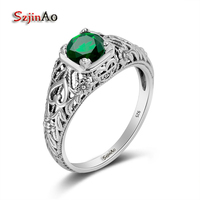 Szjinao Birthstone Personalized 925 Silver Wedding Ring Vintage Rings for Women Love Ring Princess Cut Emerald Turkish Jewelry