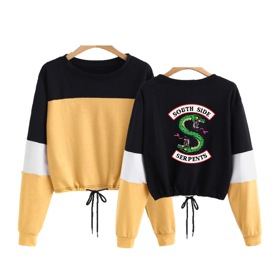 Drop Shopping Riverdale Southside Round Neck CONTRAST COLOR Long Sleeve Rope Sweatshirts Casual Women Sweatshirts 2019 Crop Top