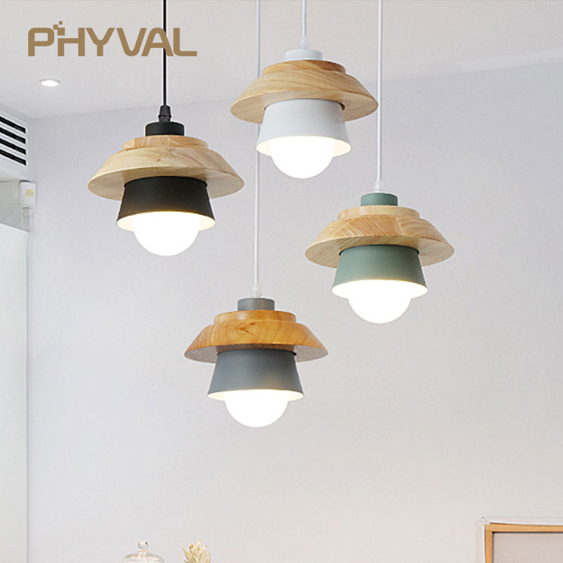 Pendant Light Led Pendant Fixture Hanging Kitchen Lamp Dining Room Pendant Lamp E27 Dinning Room Lights Wood Pendant Lamp Modern