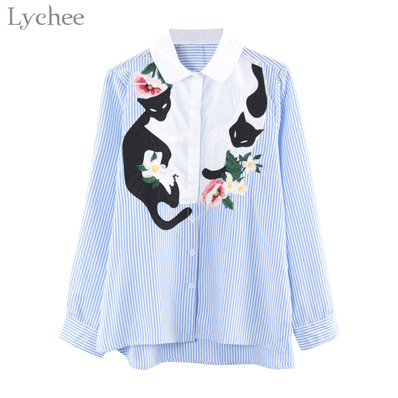 Inventive Kyqiao Women Striped Shirt 2019 Mori Girls Spring Japanese Style Long Sleeve Turndown Collar Asymmetric Blue Striped Blouse 2019 Official Blouses & Shirts