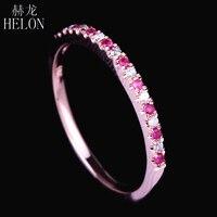 HELON Pave Natural Diamonds & Pink Sapphire Ring Solid 14k Rose Gold Women's Diamonds Ring Gemstones Engagement & Wedding Bands
