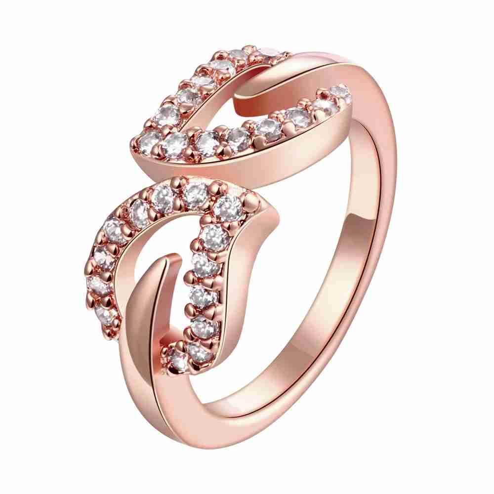 Free Shipping Newest Women Jewelry Gold Plating Ring Double Heart Bypass  Anel Masculino Costume Jewellery