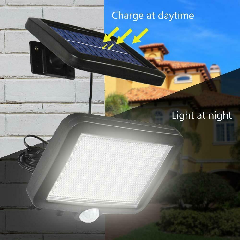 Solar 60-LED Wall Light Motion Sensor Security Waterproof Spotlight Outdoor EH
