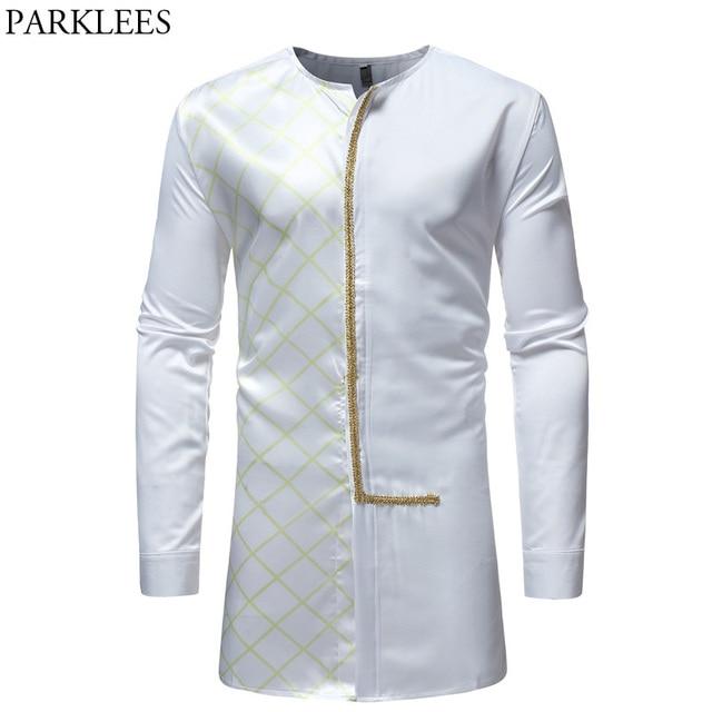 51e1ee8185e4 White African Dashiki Longline Shirt Men 2018 Brand New Slim Fit O Neck  Dress Shirts Mens