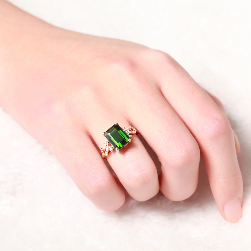 Luxury&Classic GVBORI 18K Gold Natural Emerald Green Gemstone ...