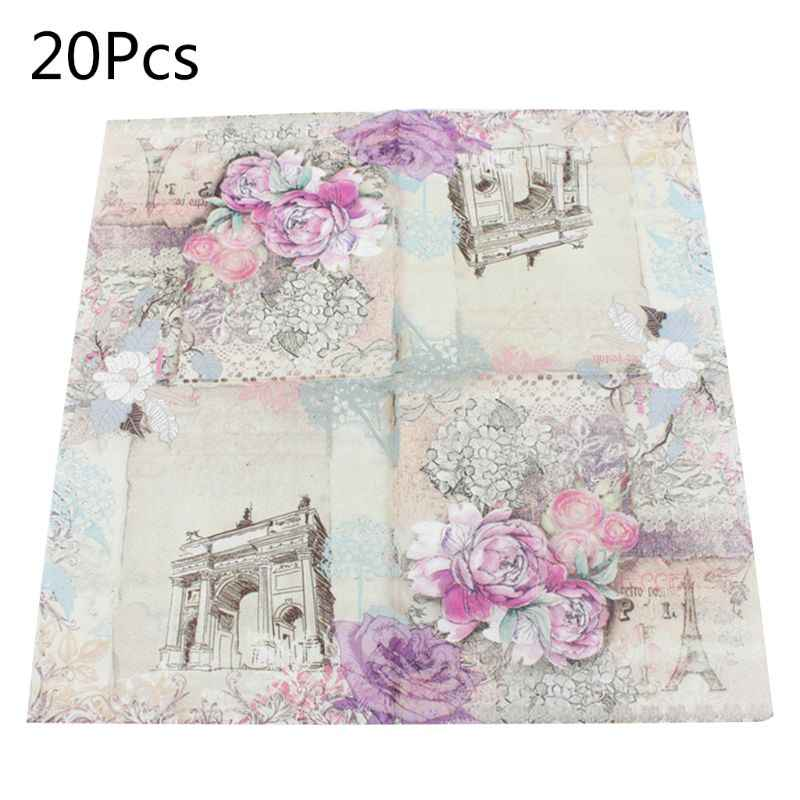Disposable Tissue Paper Napkins Guest Birthday Party Tableware Decoration Supply Flowers Eiffel Tower Pattern 20 Sheets/Bag
