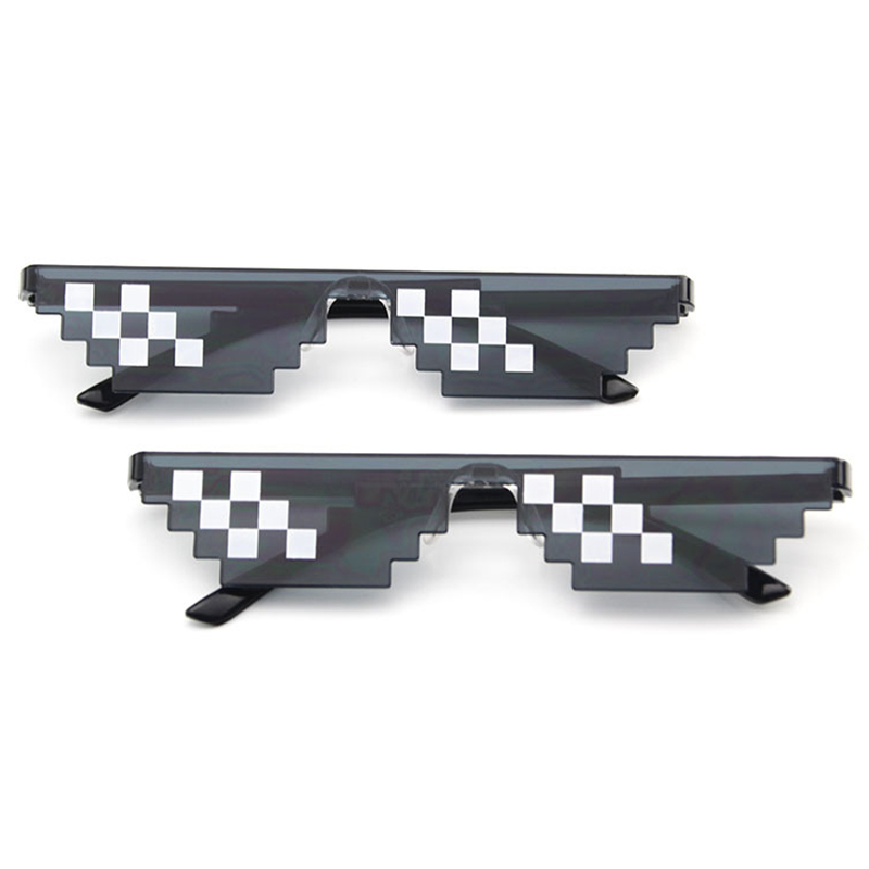 April Fool Funny Tricks Glasses 8 Bit Pixel Deal With IT Sunglasses Toy Unisex Funny Sunglasses Toy Prank Props