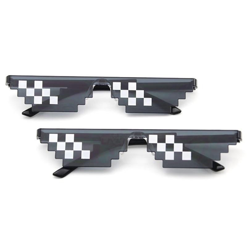 April Fool Funny Tricks Glasses 8 Bit Pixel Deal With IT Sunglasses Toy Unisex Funny Sunglasses Toy Prank Props