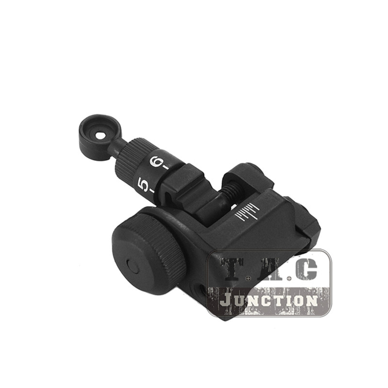 Tactical SR16 600M Flip-Up Folding Backup Iron Adjustable Rail Mount Rear Sight