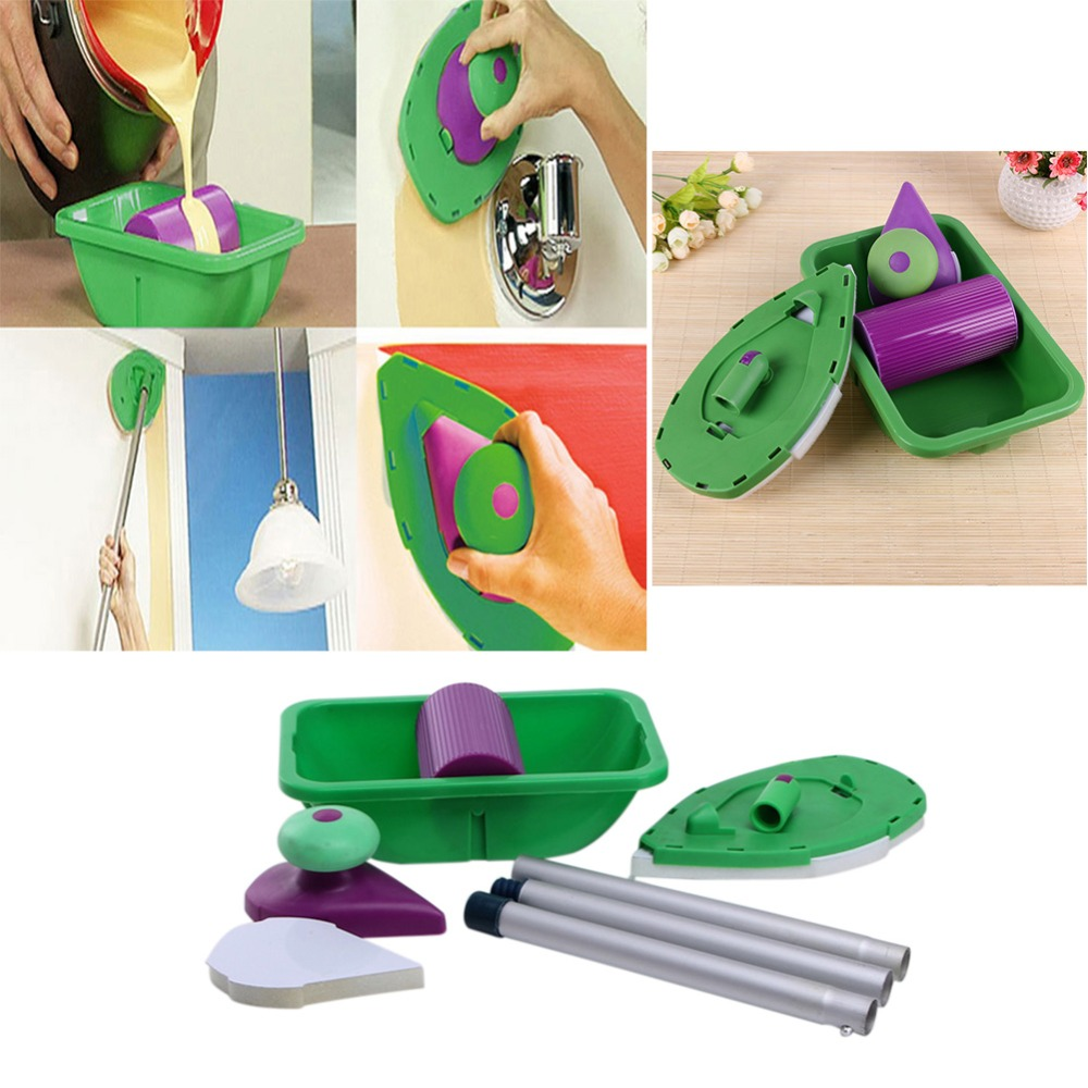 9pcs/Set Multifunction Paint Roller Tray Sponge Pads Handles Kits Household Painting Brush Set Wall Room Decorative Hand Tools