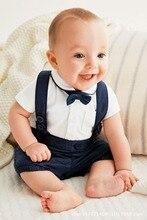 Nouveau été bébé vêtements bébé Gentleman manches courtes vêtements bébé body enfants portent garçons barboteuses 6 pièces/lot offre spéciale