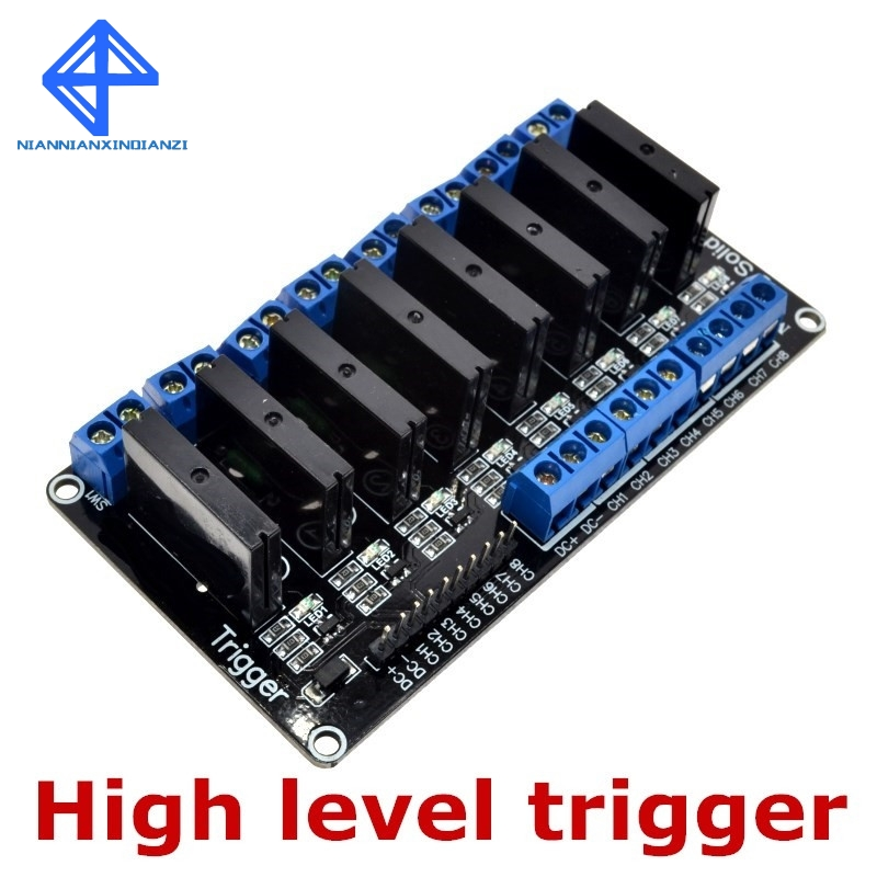 Модуль реле постоянного тока, 8 каналов, 5 В, 250 В, 2 А, 5 В, 8 каналов, релейный модуль твердотельного уровня OMRON, высокоуровневый триггер