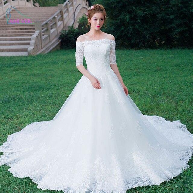 421dfb055 الأبيض الأميرة قارب الرقبة الدانتيل الكريستال الفاخرة كاتدرائية قطار فساتين  زفاف العروس ثوب مثير 2017 cs50