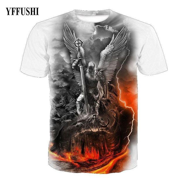 YFFUSHI 2018 Male 3d t shirt Cool Eagle Men Print Hip Hop Tees Summer Hot Sale Top Tees Short Sleeve Slim Fit  White  T shirt