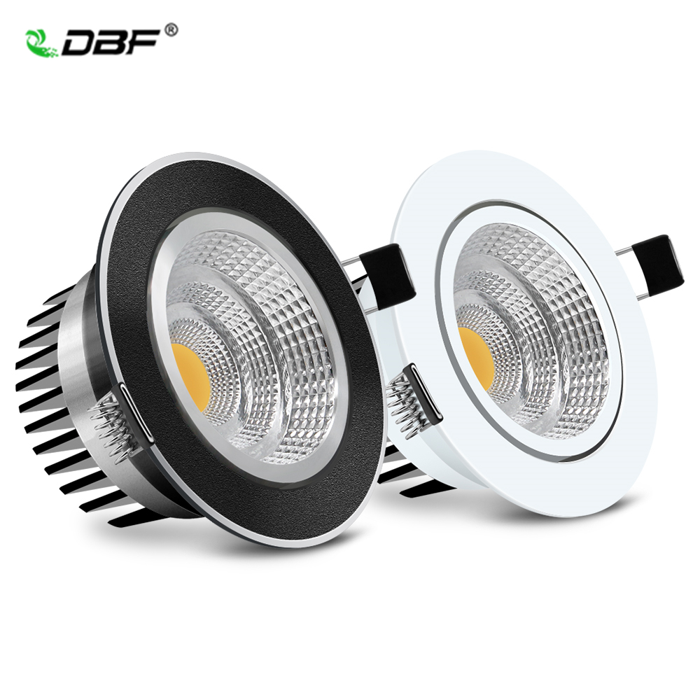 [DBF]Dimmable LED Recessed Downlight 5W 7W 10W 12W White/Black Body Ceiling Spot Light With 90-265V LED Driver 3000K 4000K 6000K