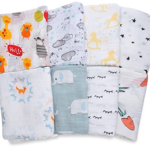 NEW Cotton Baby Blankets Newborn Soft Muslin Swaddle Wrap Feeding Scarf Baby Bath Towel Baby Boy Baby Girl Stroller Accessories Lahore
