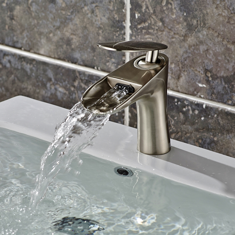 Waterfall Spout Bathroom Faucet: FLG Waterfall Spout Bathroom Sink Faucet Widespread Basin