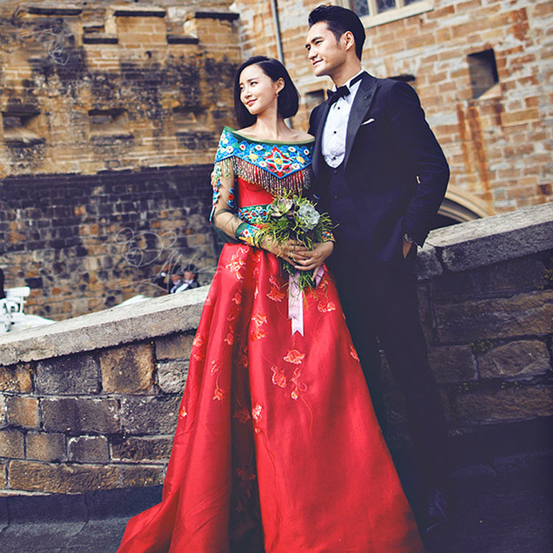 Bride evening dress cheongsam kimono Overseas East Asian Traditional Show bride married suits chinese style wedding formal