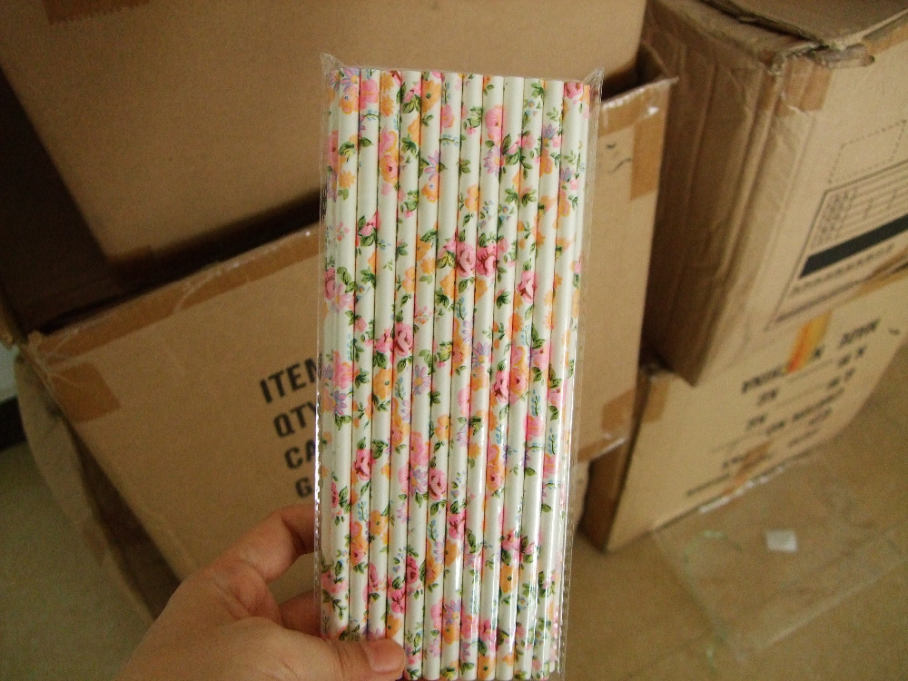 700packs Eco friendly flower straws paper straw wedding banquet straw color party Drinking straws