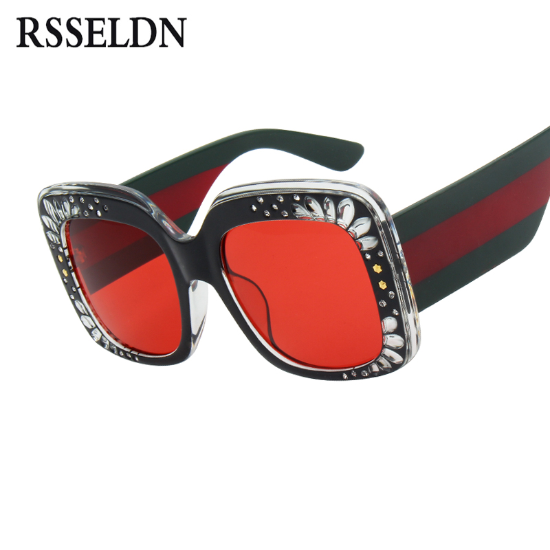 9d35e815d4 Best buy RSSELDN Square Rhinestone Sunglasses Women 2018 Fashion Red Pink  Brown Oversized Sun glasses For Women Gradient Big Shades UV400 online cheap